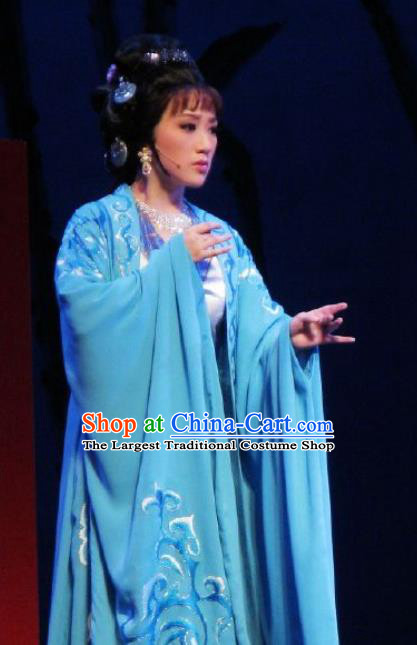 Chinese Kun Opera Female Blue Dresses Costumes The Story of Pipa Peking Opera Actress Garment Apparels and Headpieces