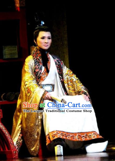 Chinese Classical Kun Opera Prince Apparels The Story of Pipa Peking Opera Garment Young Men Costumes and Headpiece