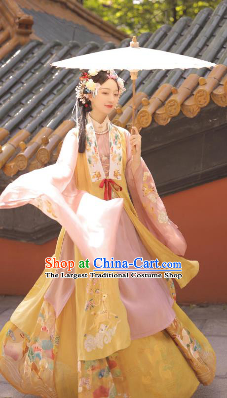Chinese Ancient Young Lady Garment Clothing Ming Dynasty Noble Female Historical Costumes for Women
