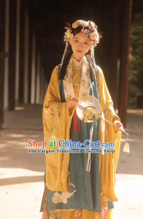 Chinese Ancient Ming Dynasty Young Lady Garment Noble Female Historical Costumes Hanfu Dress Complete Set for Women