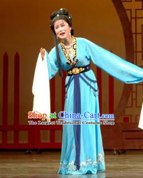 Chinese Shaoxing Opera Hua Tan Actress Chen Sanliang Blue Dress Costumes and Headpieces Yue Opera Distress Maiden Garment Apparels