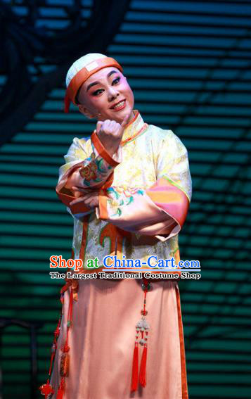 Chinese Yue Opera Xiaosheng Young Male Garment Costumes and Hat Wisp of Hemp Shaoxing Opera Stupid Scholar Apparels