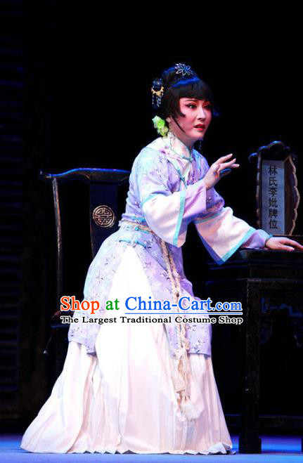 Chinese Shaoxing Opera Distress Maiden Wisp of Hemp Dress and Headpieces Yue Opera Young Woman Garment Apparels Costumes