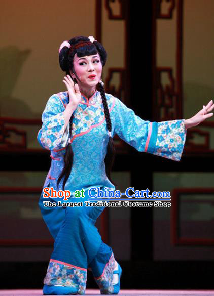 Chinese Shaoxing Opera Xiaodan Dress and Headpieces Yue Opera Young Lady Garment Apparels Servant Girl Blue Costumes