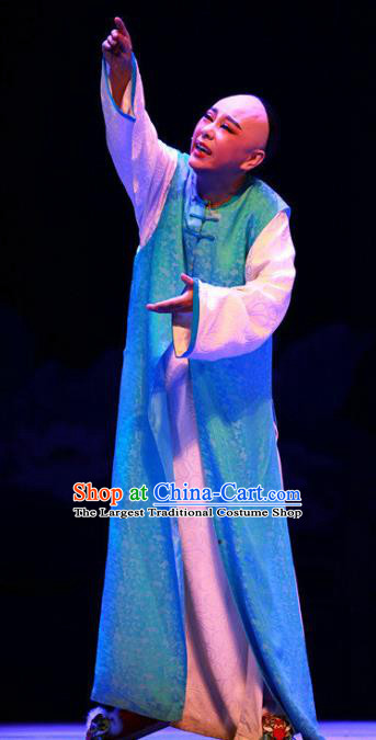 Chinese Yue Opera Young Male Garment Costumes and Headwear Wisp of Hemp Shaoxing Opera Stupid Scholar Xiaosheng Apparels