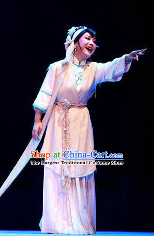 Chinese Shaoxing Opera Distress Maiden Dress and Headpieces Yue Opera Young Female Widow Garment Apparels Costumes
