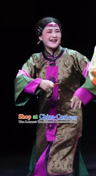 Chinese Shaoxing Opera Wisp of Hemp Elderly Woman Dress and Headdress Yue Opera Garment Costumes Matchmaker Apparels