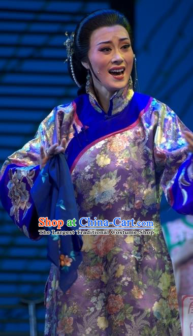 Chinese Shaoxing Opera Wisp of Hemp Elderly Female Dress and Headpieces Yue Opera Costumes Old Dame Garment Apparels