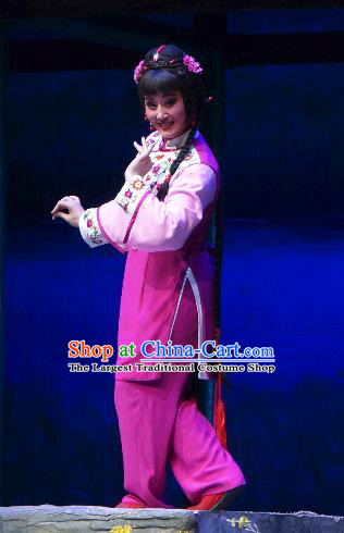 Chinese Shaoxing Opera Young Female Jiujin Girl Dress and Headpieces Yue Opera Xiaodan Garment Country Lady Apparels Costumes