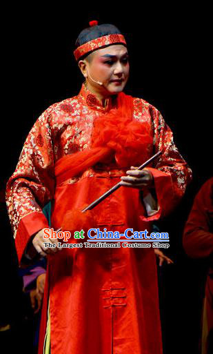 Chinese Yue Opera Xiaosheng Young Male Garment Costumes and Headwear Jiujin Girl Shaoxing Opera Wedding Apparels
