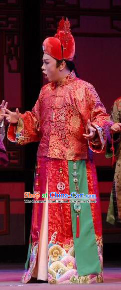 Chinese Yue Opera Xiaosheng Young Male Garment Costumes and Headwear Wisp of Hemp Shaoxing Opera Bridegroom Wedding Apparels