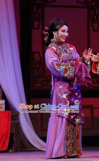 Chinese Shaoxing Opera Elderly Female Wisp of Hemp Purple Dress Apparels Costumes and Headpieces Yue Opera Woman Matchmaker Garment