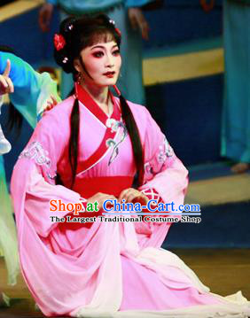 Chinese Shaoxing Opera Country Lady Lin Moniang Rosy Dress Costumes and Headpieces Ma Zu Yue Opera Actress Garment Hua Tan Apparels