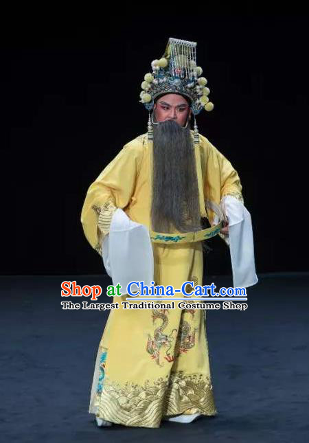 Chinese Classical Kun Opera Emperor Apparels Princess Baihua Peking Opera Elderly Male Costumes Ceremonial Robe and Helmet