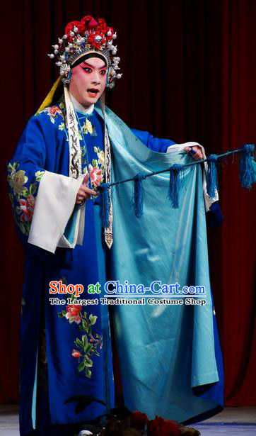Chinese Classical Kun Opera Takefu Apparels Princess Baihua Peking Opera Young Male Costumes Blue Robe and Headwear