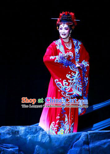 Ma Zu Chinese Shaoxing Opera Goddess Apparels and Headdress Yue Opera Actress Garment Hua Tan Lin Moniang Red Dress Costumes