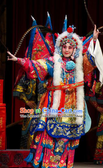 Chinese Kun Opera Female General Kao Costumes Princess Baihua Peking Opera Blues Garment Apparels Red Armor Suit with Flags and Headdress