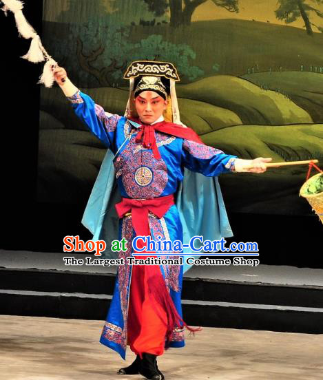 Chinese Classical Kun Opera Martial Man The Palace of Eternal Youth Costumes Garment and Hat Peking Opera Wusheng Blue Apparels