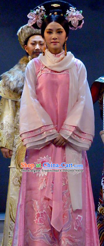 Chinese Shaoxing Opera Qing Dynasty Court Lady Dress Apparels and Headdress Bu Bu Jing Xin Yue Opera Actress Ruo Xi Costumes Garment