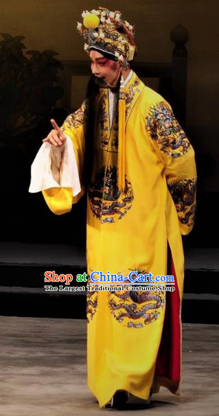 Chinese Classical Kun Opera The Palace of Eternal Youth Elderly Male Costumes Garment and Headwear Peking Opera Apparels Emperor Ceremonial Robe