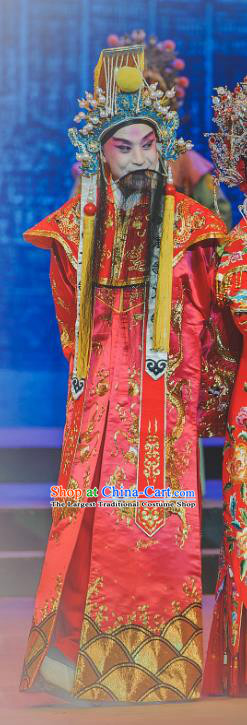 Chinese Classical Kun Opera Tang Emperor The Palace of Eternal Youth Costumes Garment and Headwear Peking Opera Apparels Elderly Male Red Ceremonial Robe