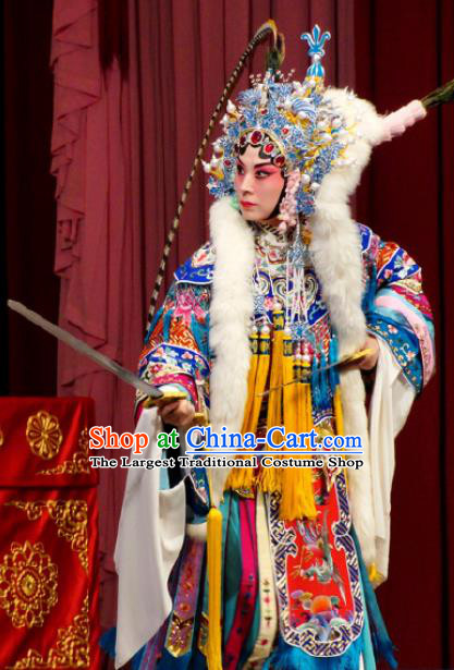 Chinese Kun Opera Female General Costumes Princess Baihua Peking Opera Blues Garment Apparels and Headdress