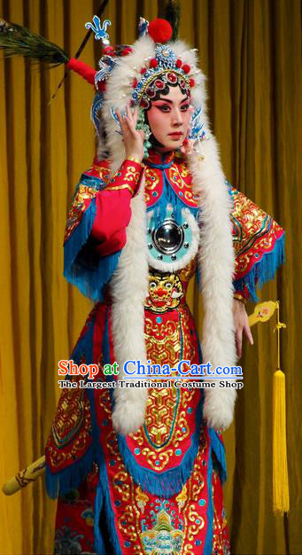 Chinese Kun Opera Female General Red Armor Costumes Princess Baihua Peking Opera Blues Garment Apparels and Headdress Complete Set