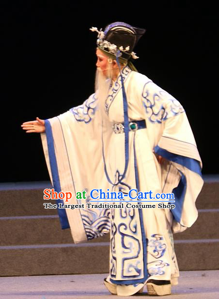 Chinese Yue Opera Elderly Male Costumes and Headwear Han Gong Yuan Shaoxing Opera Garment Official Huo Guang Apparels
