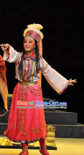 Chinese Shaoxing Opera Xiaodan Princess Garment Costumes and Headdress Xi Ma Qiao Yue Opera Actress A Jiao Dress Apparels