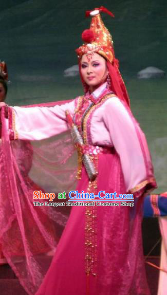 Chinese Shaoxing Opera Princess A Jiao Garment Costumes and Headwear Xi Ma Qiao Yue Opera Actress Dress Apparels