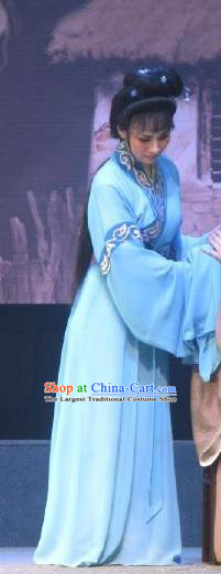 Chinese Shaoxing Opera Young Female Garment Costumes and Headpieces Xi Ma Qiao Yue Opera Diva Xiao Yueying Blue Dress Apparels