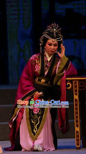 Chinese Shaoxing Opera Queen Mother Dress Garment Costumes and Headpieces Han Gong Yuan Yue Opera Elderly Female Apparels