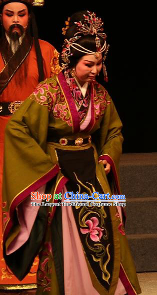 Chinese Shaoxing Opera Dowager Countess Dress Garment and Headpieces Han Gong Yuan Yue Opera Elderly Female Apparels Costumes