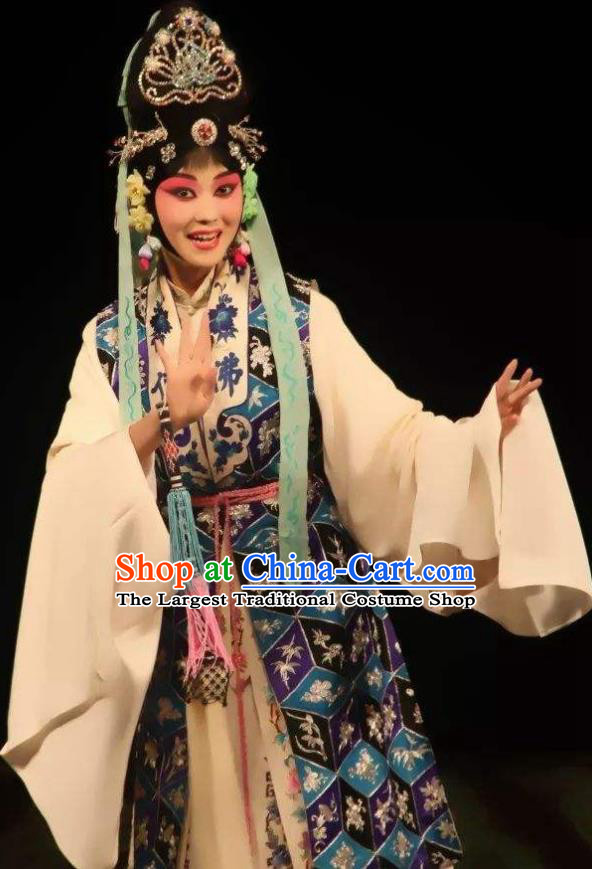 The Autumn River Chinese Beijing Opera Female Costumes Peking Opera Garment Taoist Nun Chen Miaochang Apparels and Headdress Complete Set