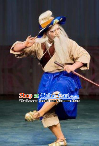 Chinese Classical Beijing Opera Fisherman Apparels The Autumn River Peking Opera Elderly Male Costumes and Headwear