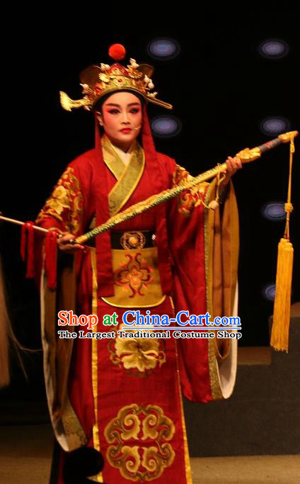 Chinese Yue Opera Court Eunuch Costumes and Headwear Han Gong Yuan Shaoxing Opera Garment Young Male Apparels