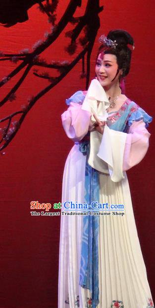Chinese Shaoxing Opera Young Lady Dress Shuang Fei Yi Apparels Yue Opera Xiao Dan Garment Maidservant Costumes and Hair Accessories