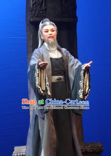 Chinese Shaoxing Opera Elderly Male Garment Yue Opera Shuang Fei Yi Apparels Lao Sheng Chancellor Black Costumes and Headpiece
