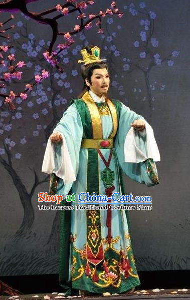 Chinese Shaoxing Opera Scholar Garment Yue Opera Shuang Fei Yi Apparels Male Green Official Costumes and Headpieces