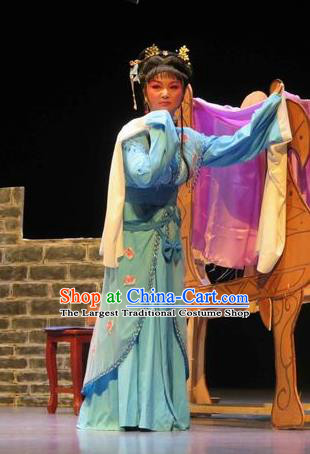 Chinese Shaoxing Opera Young Female Blue Dress Apparels Yue Opera The Peacocks Fly To The Southeast Liu Lanzhi Costumes Garment and Headpieces