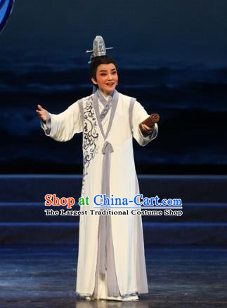 The Love of Maritime Silk Road Chinese Yue Opera Scholar He Chunlin Costumes and Headwear Shaoxing Opera Xiaosheng Garment Young Male Apparels