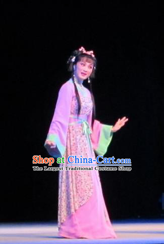 Chinese Shaoxing Opera Country Girl Li Da Dress Garment and Headpiece Bady from the Sea Yue Opera Xiaodan Apparels Costumes