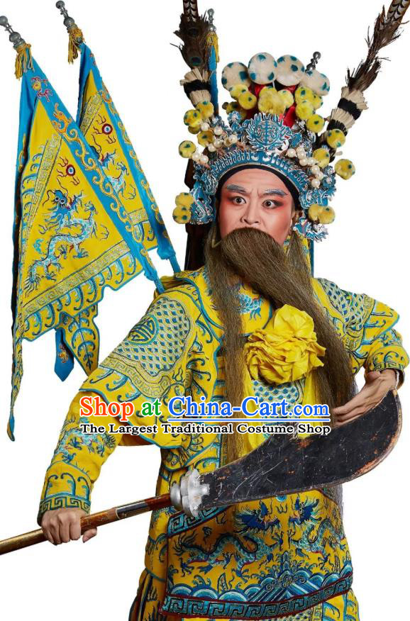 Chinese Classical Kun Opera Martial Men Apparels Princess Baihua Peking Opera Costumes General Kao Armor Suit with Flags Garment and Headwear