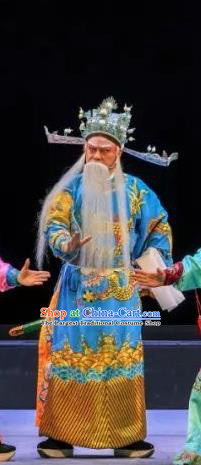 Chinese Classical Kun Opera Chancellor Apparels Princess Baihua Peking Opera Elderly Male Costumes Official Garment and Helmet