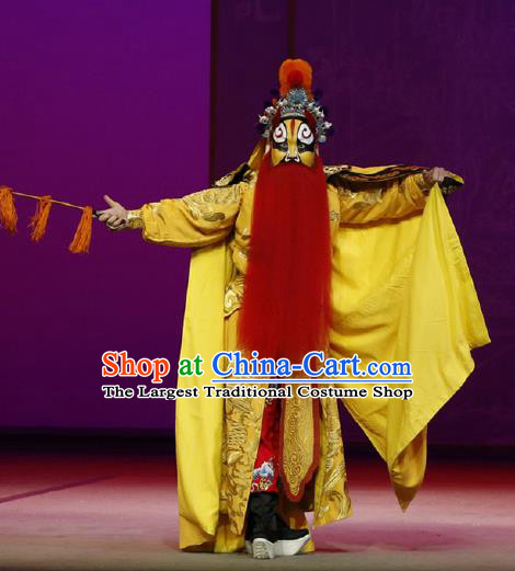 Chinese Classical Kun Opera The Purple Hairpin Wusheng Yellow Apparels Peking Opera Martial Male Costumes Garment and Headwear