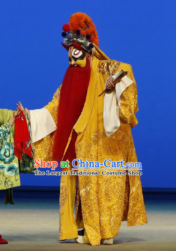 Chinese Classical Kun Opera Painted Face Role The Purple Hairpin Apparels Peking Opera Elderly Male Costumes Garment and Headwear