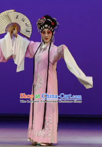 Chinese Kun Opera Rich Lady Costumes The Purple Hairpin Peking Opera Hua Tan Garment Actress Apparels Pink Dress and Hair Jewelry