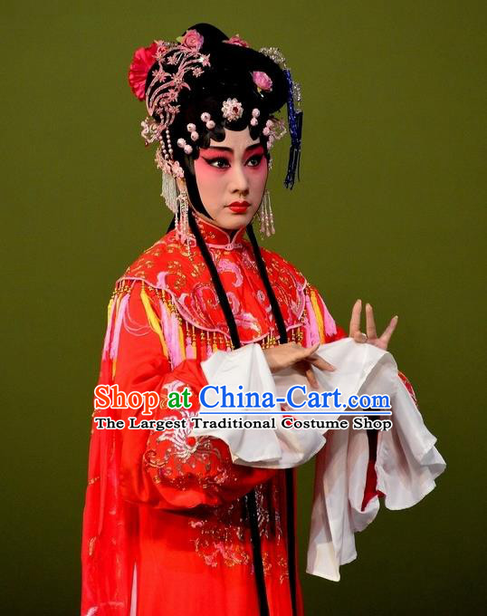 The Purple Hairpin Chinese Kun Opera Actress Rich Lady Costumes Peking Opera Hua Tan Garment Apparels Red Dress and Hair Jewelry