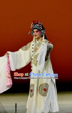 Chinese Classical Kun Opera Young Male Garment The Purple Hairpin Peking Opera Scholar Costumes White Embroidered Robe and Headpiece