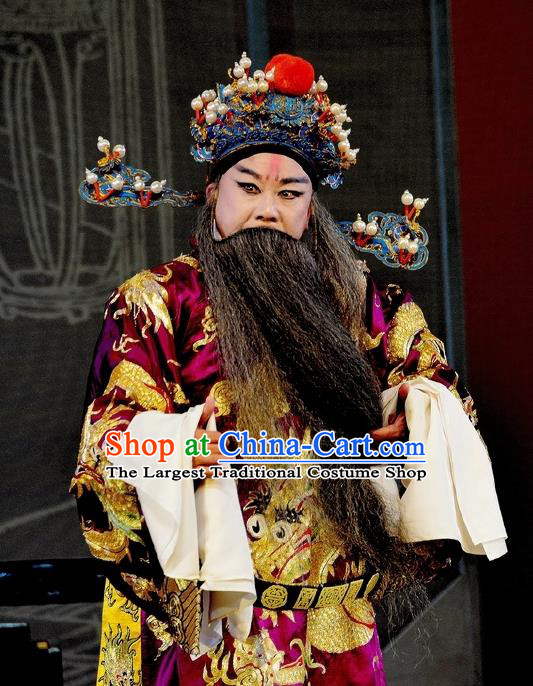 Chinese Classical Kun Opera Elderly Male Garment The Purple Hairpin Peking Opera Grand Commandant Costumes Purple Embroidered Robe and Headpiece